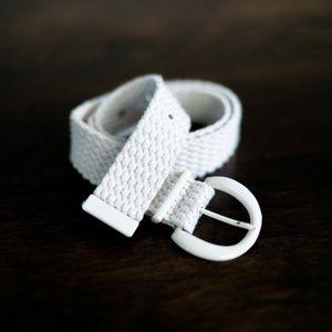 Vintage 90s Y2K White Woven Braided Cotton Belt